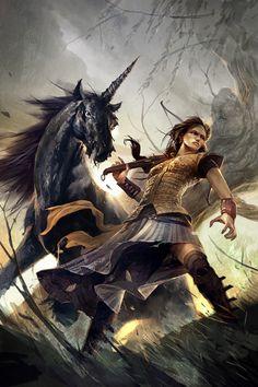 Illustrations by Slovakia based freelance illustrator Michal Ivan / Black Unicorn Mythological Creatures, Fantasy Creatures, Mythical Creatures, Medieval Fantasy, Dark Fantasy, Fantasy Art, Fantasy Story, Black Unicorn, Unicorn Art