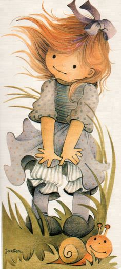 drawing from Jaklien Moerman Illustration Mignonne, Cute Illustration, Cute Images, Cute Pictures, Images Vintage, Sarah Kay, Holly Hobbie, Pintura Country, Precious Children