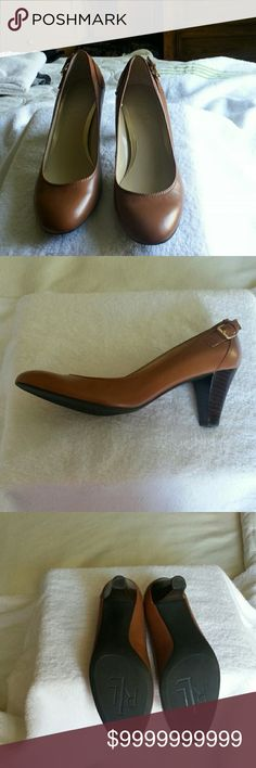 NWOT RALPH LAUREN CAMEL HEELS RALPH LAUREN CAMEL HEELS with strap and gold buckle detail on the side with stacked heel. These shoes have not been worn in pristine condition. Ralph Lauren Shoes Heels