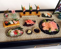 Sushi salmon Sashimi Japanese food the table by DollhouseAra, $139.00 this is stunning