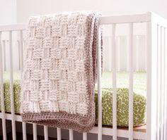 Ivory Basket Weave Baby Blanket | AllFreeCrochetAfghanPatterns.com