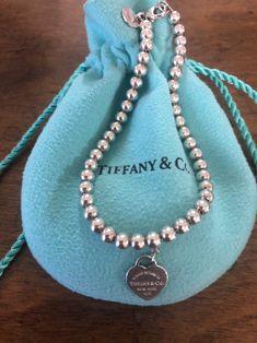Tiffany Bead Bracelet, Sterling Silver Bead Bracelet, Washer Necklace, Beaded Necklace, Beaded Bracelets, Cute Jewelry, Jewelry Accessories, Luxury Clothing, Tiffany Blue