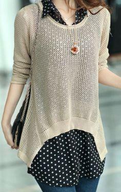 lovely mixed media blouse