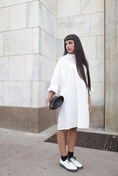 white total look #streetfashion