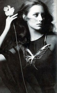 Cynthia Korman in Galanos _ Photo by Penati, Vogue 1969 [Butterfly necklace by Arline Fisch]
