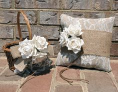 Burlap and Lace Ring Bearer Pillow & Flower Girl Basket - Rustic Ring Bearer Pillow - Burlap Ring Bearer Pillow. $52.00, via Etsy.