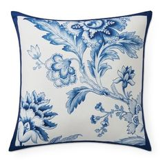 Italian-inspired flowers bloom in regal shades of blue on our durable outdoor pillow. Designed in collaboration with Aerin Lauder, it's made of weather-friendly polyester and plumped with fast-drying polyfill to bring plush comfort and a fresh loo…