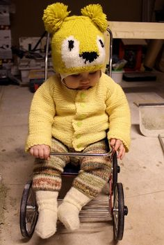 I love the knitted socks, pants, and sweater!