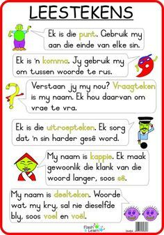 Leestekens Available in Afrikaans only Preschool Learning Activities, Preschool Worksheets, Kids Learning, Tracing Worksheets, Afrikaans Language, Phonics Chart, Afrikaans Quotes, Teaching Aids, Teaching Grammar