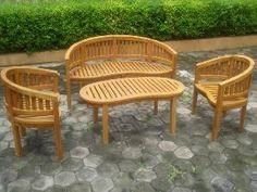 Teka Peanut Banana Set Benches, Arm Chair, Table Teak Wooden Outdoor Garden Furniture