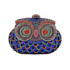 Cobalt blue owl clutch with multicolored gems.  Love!
