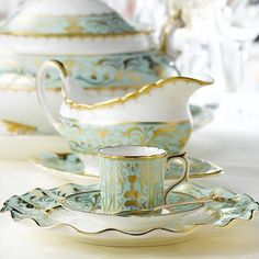 """Royal Crown Derby """"Darley Abbey"""" Home - Dining & Entertaining - Dinnerware - Fine China - Bloomingdale's Royal Crown Derby, Crown Royal, Tea Cup Saucer, Tea Cups, Tea Service, Chocolate Pots, China Dinnerware, Porcelain Dinnerware, Dinnerware Sets"""