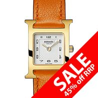 """Hermes - 036736WW00 - H Hour Small €1,800.00 €990.00 (You save €810.00)  Product Description  H Hour Small, 21mm x 21mm polished gold-plated stainless steel case in the shape of an """"H"""" with smooth orange calfskin leather strap, white glazed dial with a sunburst textured center square, black Arabic numerals and gold-tone polished hands, quartz movement, water resistant to 30 metres."""