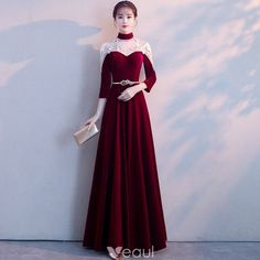 Chinese style Burgundy See-through Evening Dresses 2018 A-Line / Princess High Neck 3/4 Sleeve Appliques Lace Metal Sash Floor-Length / Long Ruffle Formal Dresses