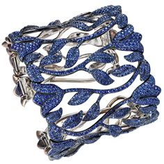 One of a kind Sapphire Cuff by Chopard. Containing 2417 blue sapphires (27ct) set in titanium. 2012 Red Carpet Collection.