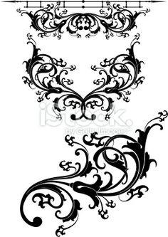 Victorian Black Scroll Set Royalty Free Stock Vector Art Illustration