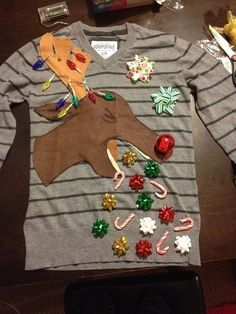 Ugly Christmas sweater party ideas for adults. Get food, games, and decoration ideas for kids and adults for your diy ugly Christmas party. Diy Ugly Christmas Sweater, Ugly Sweater Party, Reindeer Sweater, Ugly Sweaters Diy, Ugly Sweater For Kids, Christmas Clothes, Ugly Sweater Contest, Christmas Outfits, Tacky Sweater Diy