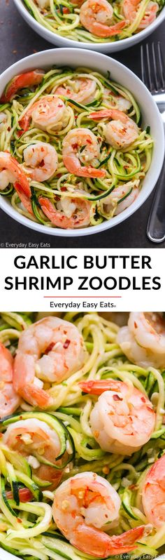 This Easy Garlic Butter Shrimp Zucchini Noodles recipe is healthy, low-carb and ready in just 15 minutes! #easyrecipe #healthy #lowcarb #shrimp #zoodles