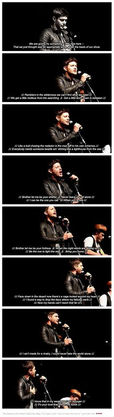 """♥ Jensen singing """"Brother"""" #Vegascon 2017 [GIFSET] ... his hand on his heart when he sings """"It's your love that brings me home"""" just kills me!♥◡♥#Jensen Ackles #SPNVegas #Vegascon17#Jensen Singing #Supernatural Convention Jared Padalecki #Brother #Winchesters #Dean #Sam"""