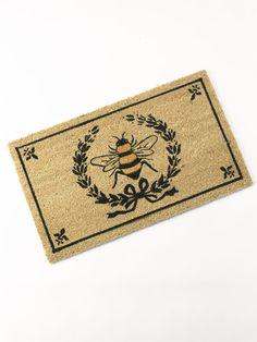 Coir Doormat - Bee Crest: Laurel Wreath with Fleur de Lis & Bees welcomes Guests in Bee-Friendly Style - I Love Bees, Bee Friendly, Coir Doormat, Bee Art, Laurel Wreath, Bee Design, Bee Theme, Save The Bees, Bee Happy