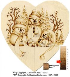 winter snowmen scene pyrography