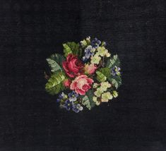Vintage Cushion cover -Floral bouquet in Black Background Needlepoint - ca 40s.