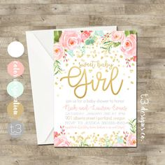 Baby shower invitation girl brunch for baby invitation girl baby gold confetti baby shower invitation girl baby shower filmwisefo