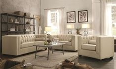 in by Coaster in Metairie, LA - Cairns Transitional Beige Three-piece Living Room Set Furniture, Upholstered Sofa, Living Room Collections, Living Room Sets, 3 Piece Living Room Set, Beige Living Rooms, Fine Furniture, Coaster Fine Furniture, White Bathroom Furniture