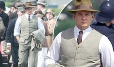 Tom Branson on the set of Downton Abbey