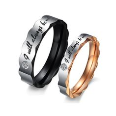 "Stainless Steel Love ""I Will Always Be with You"" Couples Promise Rings Wedding Bands with Cubic Zirconia"