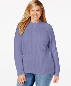 Karen Scott Plus Size Cable-Knit Sweater, Only at Macy's