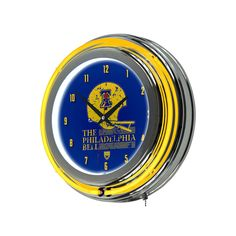 Philadelphia Bell Chrome Double-Ring Neon Wall Clock, Multicolor