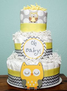 Owl Diaper Cake Customize to fit your theme by lovetiesbymeggin, $45.00