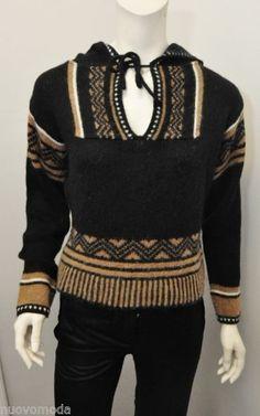 fb61f0be04a4 MAXMARA WEEKEND Black-Tan-White Pullover Hoodie Alpaca Wool Knit Sweater  Size S