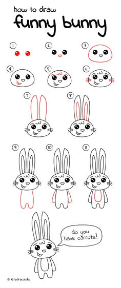 How to draw Funny Bunny. Easy drawing, step by step, perfect for kids! Let's draw kids. http://letsdrawkids.com/