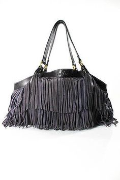 Love, love, love, love, love.... Hogan Purple Suede Brown Leather Trim Fringe Detail Double Shoulder Handbag