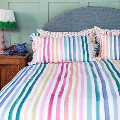 """Bluebellgray on Instagram: """"Everyone loves a stripe 🙌🏻 Our colourful candy stripe bedding, Gaaee, is proving to be a favourite and we are LOVING seeing how you style it…"""" Duvet Sets, Duvet Cover Sets, Bluebellgray, Fitted Bed Sheets, White Duvet, Colorful Candy, Candy Stripes, Comforters, Your Style"""
