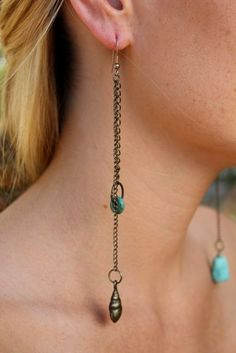 antique turquoise shell earrings. so gorgeous!