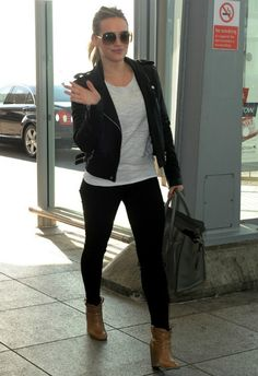 Hilary Duff wearing Celine Mini Luggage bag in Dune Laurence Dacade Pete Leather Ankle Bootie Iro Ashville biker leather jacket in Noir GUCCI 4208 SUNGLASSES