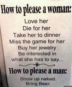 How to please a woman and a man.