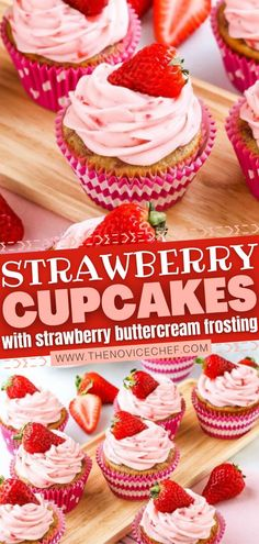 A homemade Valentine's Day dessert idea to get you excited with all things pink! These super moist and fluffy strawberry cupcakes are made from scratch. Topped with Strawberry Buttercream Frosting and… More Strawberry Cupcake Recipes, Strawberry Ice Cream Cake, Strawberry Buttercream Frosting, Valentine Desserts, Valentines, Valentine Day Cupcakes, Valentine Ideas, Holiday Desserts, Christmas Recipes