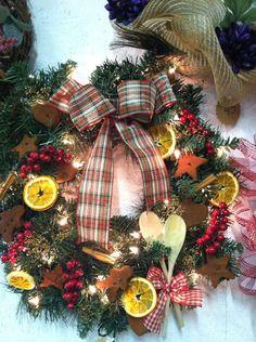 Cinnamon wreath with orange slices kitchen  on Etsy