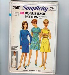 1960s Vintage Pattern Simplicity 7501 Bonus Basic Fitting Pattern A Line Dress Toile Size 46 Bust 50 1967 60s on Etsy, $7.00