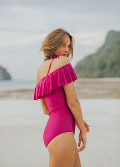Introducing THE WAVE, MAGENTA! This one piece is sexy, comfortable, provides coverage and looks great on ALL body types! With a flattering fit, a BRAND NEW STYLE and a beautiful ruffle feature, you can't go wrong with this swimmer! Check it out at albionfit.com | @albionfit