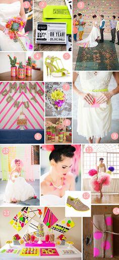 Neon wedding inspiration board