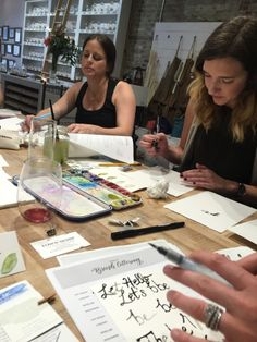 Brush lettering + water color class at Candlefish.  Part of the Maker Break series, taught by Britt Bates and The Town Serif