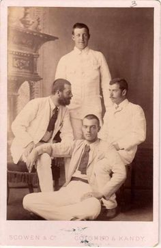 Tsarevich Nicholas Alexandrovich with cousins, Prince George of Greece (standing), Gd Alexander Sandro and Gd Sergei Mikhailovich. Early 1890s.