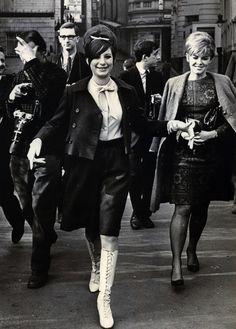 1966 found photo print ad snapshot street style edgy Brittish mod look scooter girl skirt boots blouse shirt jacket mid 60s era vespa