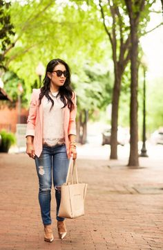cute & little blog | petite fashion | pink blazer, pink lace tank, ag distressed skinny jeans, rose gold pumps | spring outfit Peach Blazer, Gold Blazer, Petite Fashion, Pink Fashion, Blazer Outfits, Casual Outfits, Rose Gold Pumps, Lace Tank, Distressed Skinny Jeans