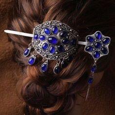 Vintage gem beaded jade blue tibet silver bun pin stick barrette hair slide clip